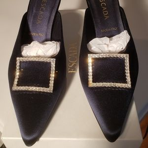 Escada Dark Navy Satin Mule Heel - Never Worn